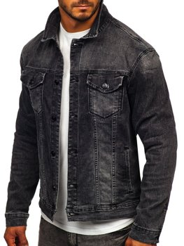 Чорна джинсова чоловіча куртка Bolf XSF78268