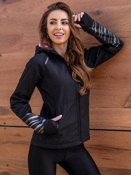 Чорна жіноча демісезонна куртка софтшелл Bolf KSW6002
