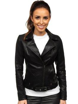 Чорна жіноча шкіряна куртка-косуха Bolf 2778