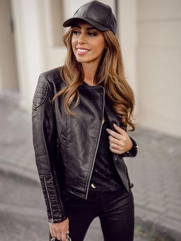 Чорна жіноча шкіряна куртка косуха Bolf BF5935502