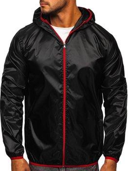 Чорна чоловіча демісезонна куртка з капюшоном вітровка BOLF 5060