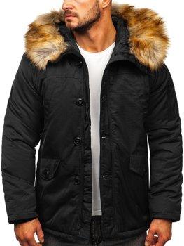 Чорна чоловіча зимова куртка парку Аляска Bolf JK355