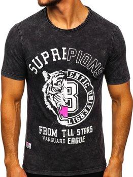 Чорна чоловіча футболка з принтом Bolf HFM015