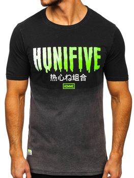 Чорна чоловіча футболка з принтом Bolf HFM016