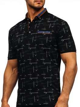 Чорна чоловіча футболка поло з принтом Bolf 192232