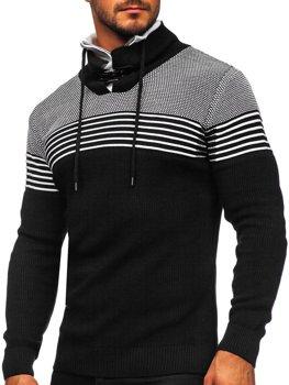 Чорний чоловічий светр товстої в'язки з коміром-стійкою Bolf 1039