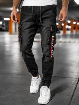 Чорні джинси джоггери-карго чоловічі Bolf K8873