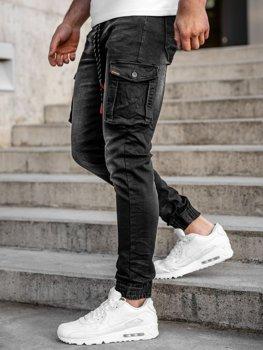 Чорні джинсові джоггери-карго чоловічі slim fit Bolf 31007W0