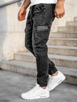 Чорні джинсові джоггери-карго чоловічі slim fit Bolf 61015W0