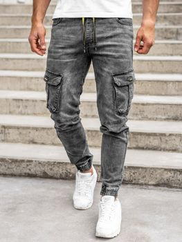 Чорні чоловічі джинсові штани джоггери-карго Bolf HY689