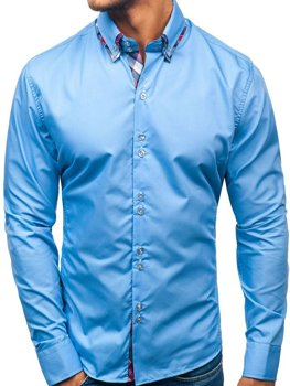 Элегантная мужская рубашка с длинным рукавом голубая Bolf 2712