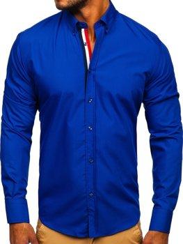 Элегантная мужская рубашка с длинным рукавом кобальтовая Bolf 3713