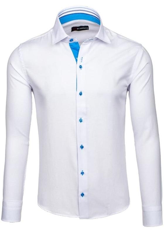 Біла елегантна чоловіча сорочка з довгим рукавом Bolf 6923