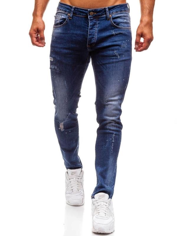 Джинси чоловічі slim fit темно-сині Bolf 8023
