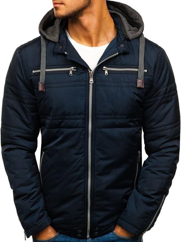 Елегантна чоловіча демісезонна куртка темно-синя Bolf 1763