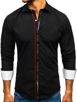 Елегантна чоловіча сорочка з довгим рукавом, чорна Bolf 1769-A