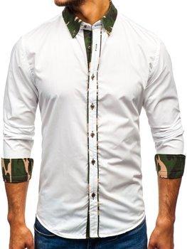 Камуфляж-біла елегантна чоловіча сорочка з довгим рукавом Bolf 6876