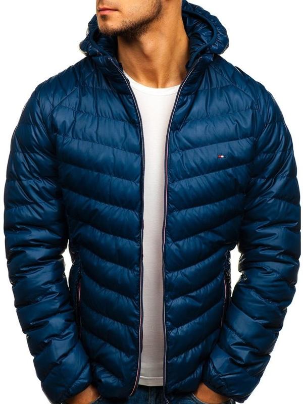 Куртка чоловіча демісезонна спортивна темно-синя Bolf 1852