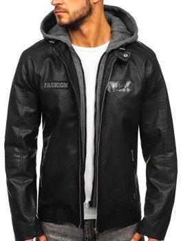 Куртка чоловіча шкіряна з капюшоном чорна Bolf 1127