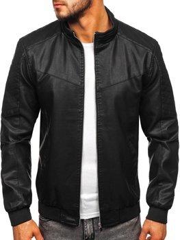 Куртка чоловіча шкіряна чорна Bolf 1123