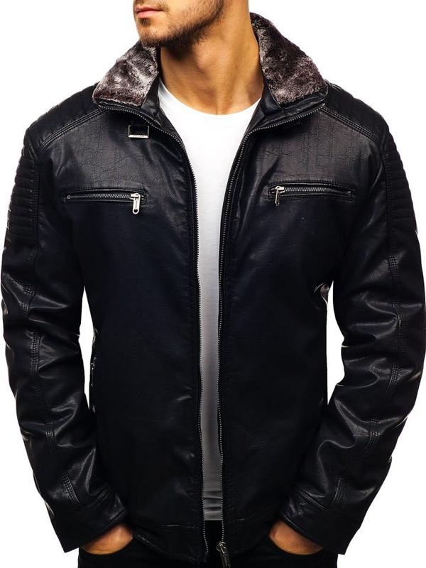 Куртка чоловіча шкіряна чорна Bolf EX832