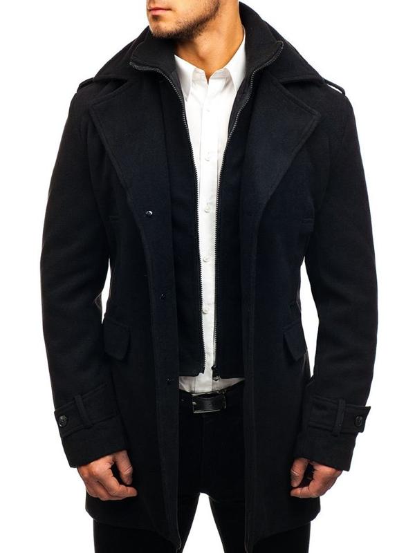 Мужское зимнее пальто черное Bolf 1808-A