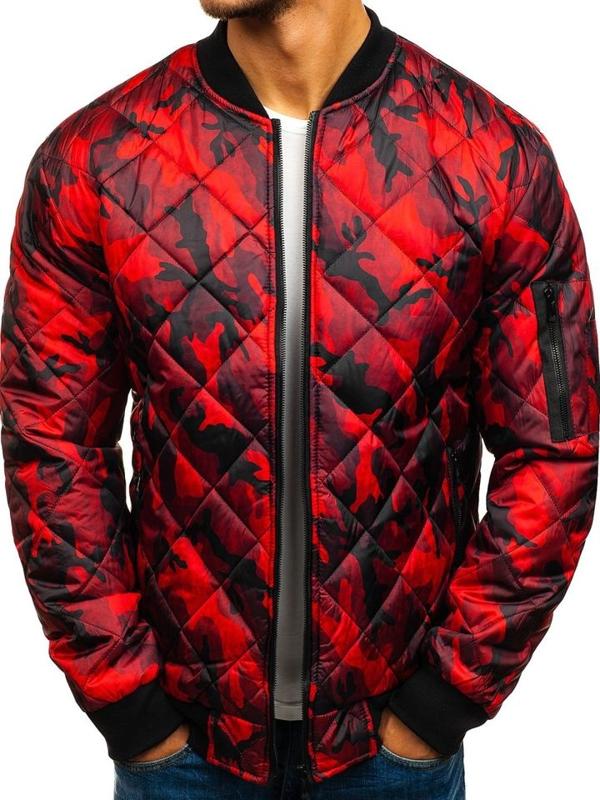 Чоловіча демісезонна куртка-бомбер червона Bolf RZ09
