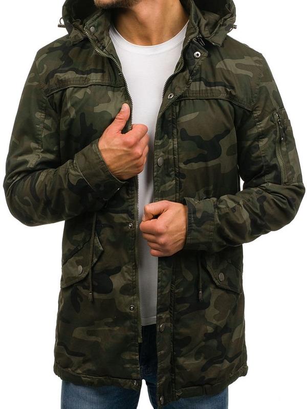 Чоловіча демісезонна куртка парка камуфляж-зелена Bolf 72223