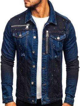 Чоловіча джинсова куртка темно-синя Bolf 5015