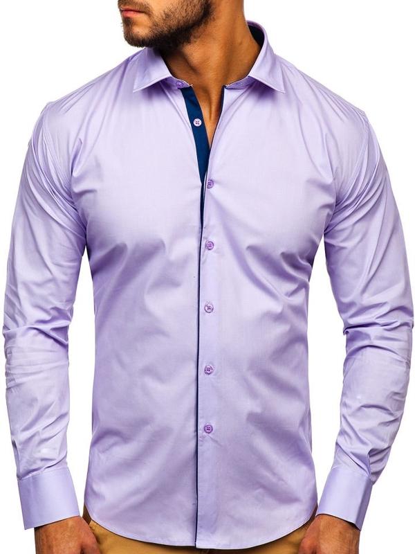Чоловіча елегантна сорочка з довгим рукавом фіолетова Bolf TS50-1