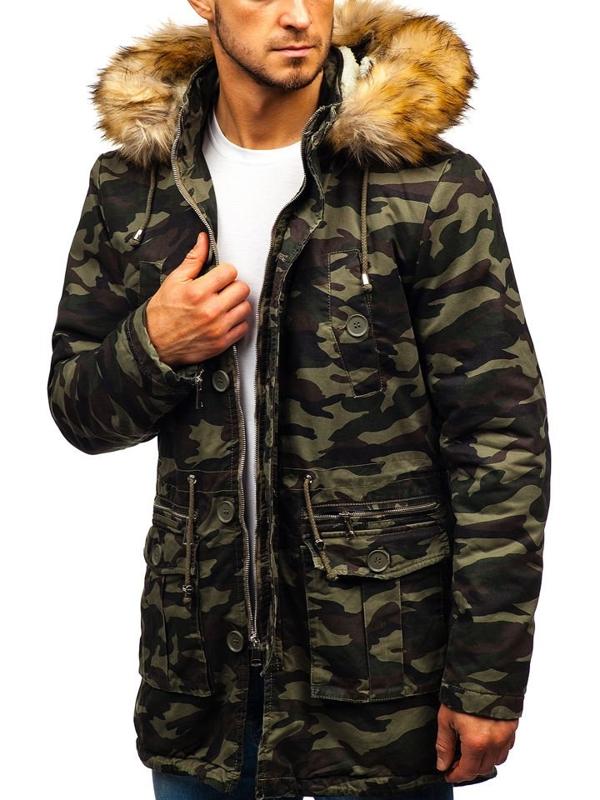 Чоловіча зимова куртка парка камуфляж-зелена Bolf 88620