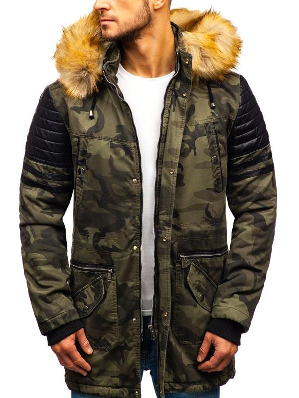 Чоловіча зимова куртка парка камуфляж-хакі Bolf 88832