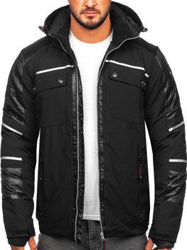 Чоловіча зимова куртка софтшелл чорна Bolf K33