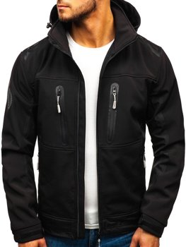 Чоловіча куртка софтшелл чорна Bolf A6603