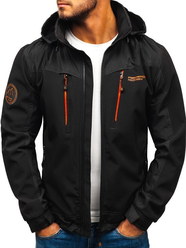 Чоловіча куртка софтшелл чорно-помаранчева Bolf P185