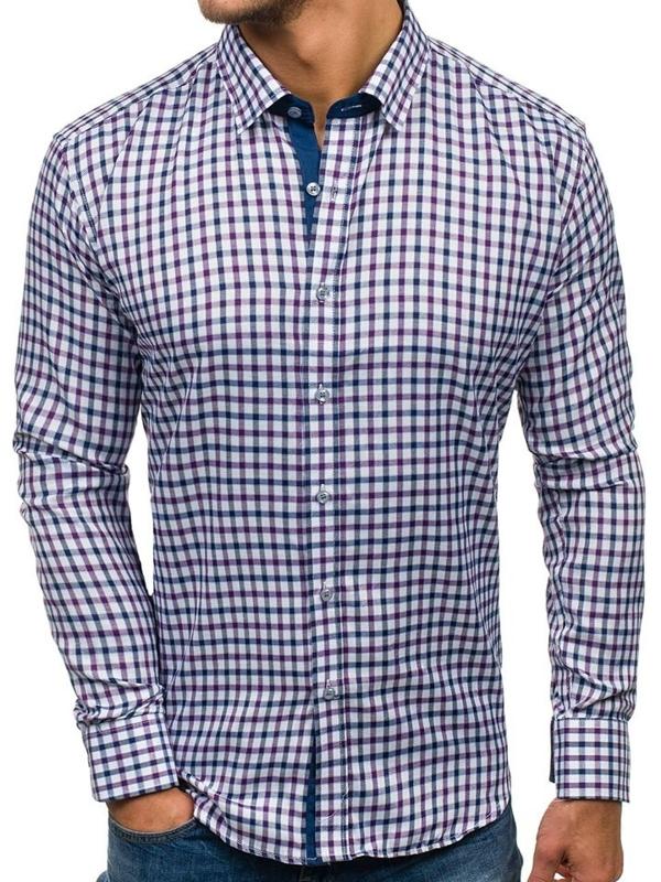 Чоловіча рубашка в клетку з довгим рукавом темно-синьо-фіолетова Bolf GET33