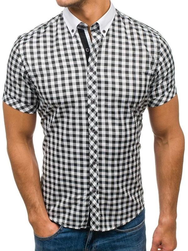 Чоловіча сорочка в клітку, з коротким рукавом чорно-біла Bolf 5207