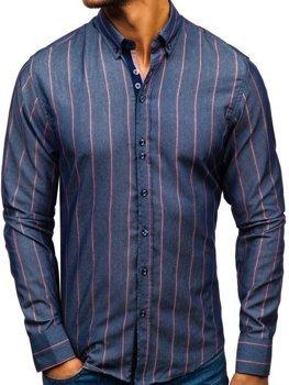 Чоловіча сорочка в смужку з довгим рукавом темно-синя Bolf 8837