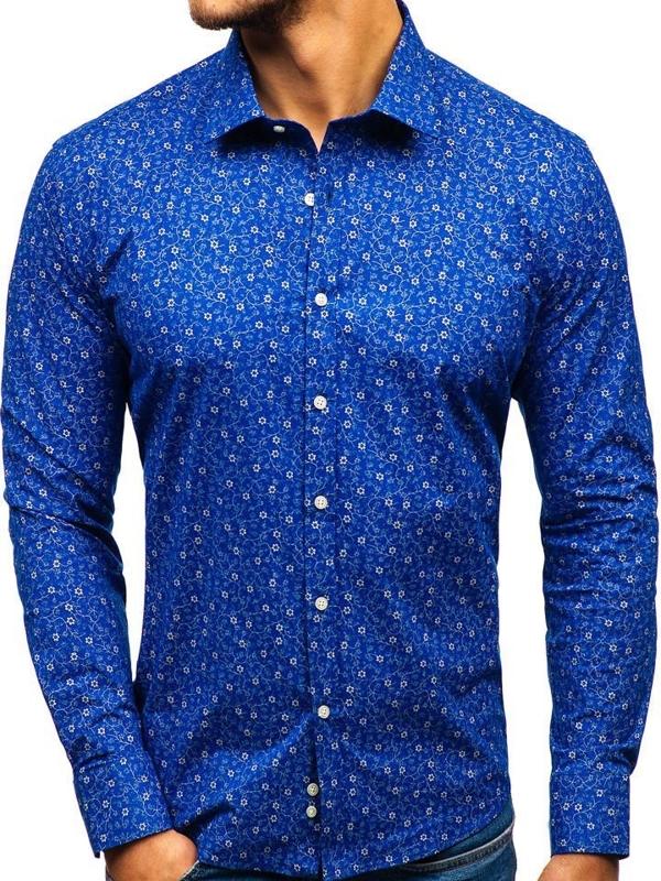 Чоловіча сорочка з візерунком з довгим рукавом синя 201G64