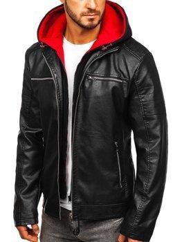 Чоловіча шкіряна куртка з капюшоном чорно-червона Bolf 6131