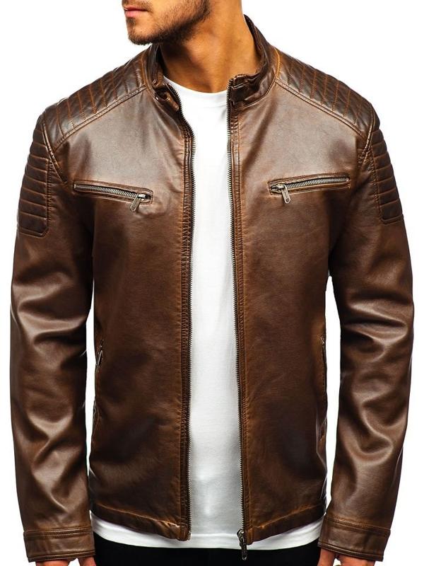 Чоловіча шкіряна куртка коричнева Bolf EX802
