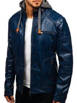 Чоловіча шкіряна куртка темно-синя Bolf ex707