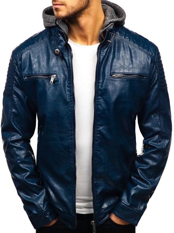 Чоловіча шкіряна куртка темно-синя Bolf ex709