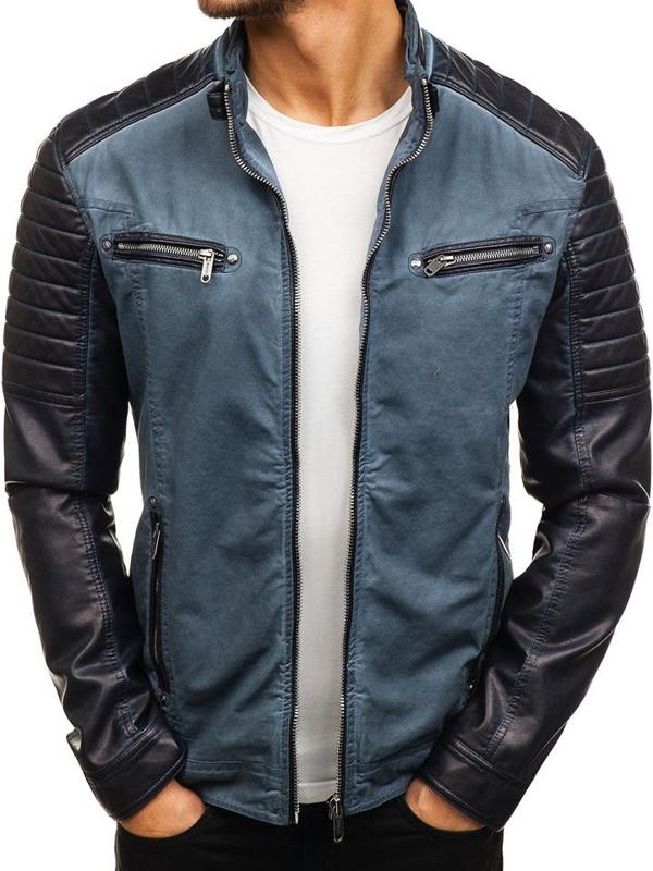 Чоловіча шкіряна куртка темно-синя Bolf ex809-A