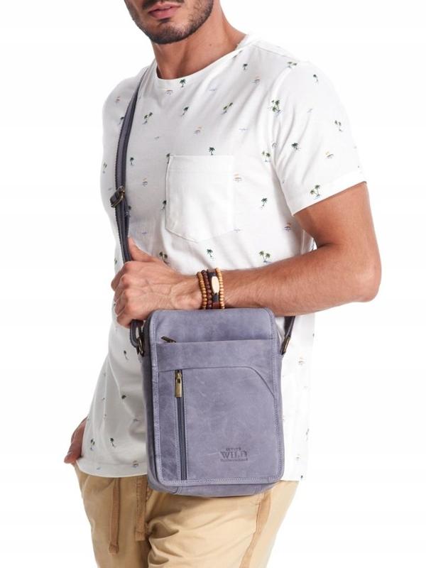 Чоловіча шкіряна сумка темно-синя 2452