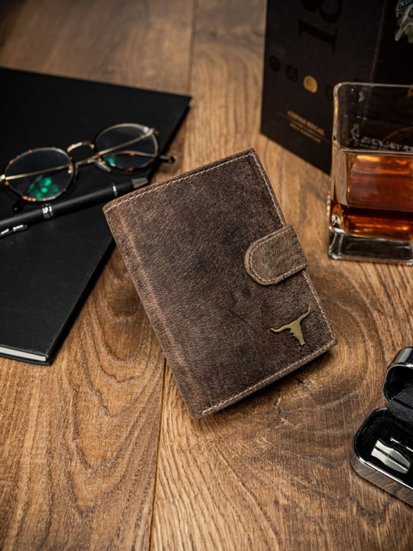 Чоловічий гаманець шкіряний світло-коричневий 43