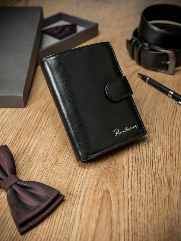 Чоловічий гаманець шкіряний чорний 1673