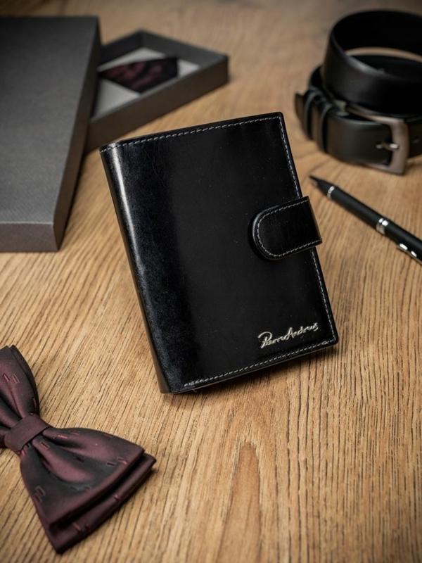 Чоловічий гаманець шкіряний чорний 1693