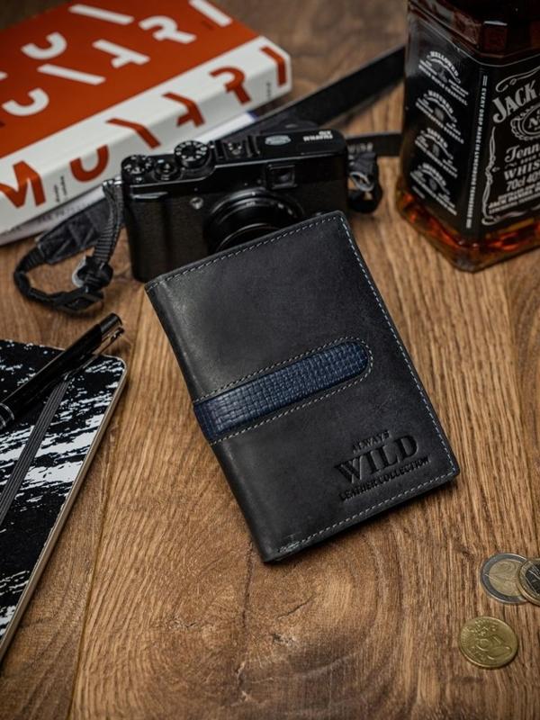 Чоловічий гаманець шкіряний чорний 2036