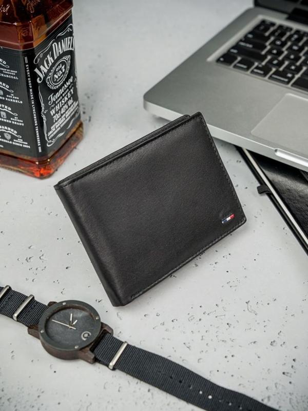 Чоловічий гаманець шкіряний чорний 3077
